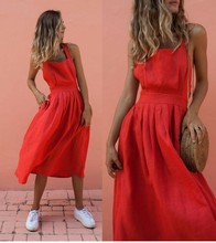 Spring and summer Dress Sexy Strap Waist Button Pleated Female Pleat High Naked back Red Women Summer Clothing