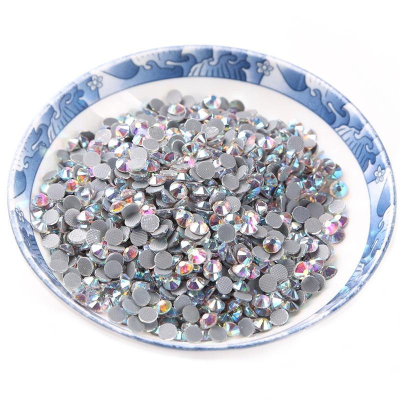 Super Glitter Rhinestones Crystal AB Multi Sizes SS6 SS10 SS16 DMC Hot Fix Rhinestone Flat Back Strass Sewing Fabric Garment