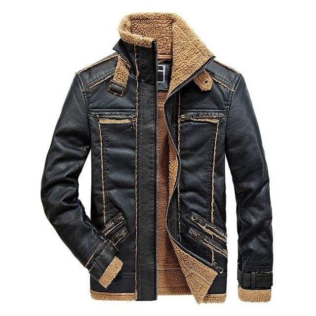 46cbf3a67 US $52.75 44% OFF|Mens Leather Jacket Warm Fleece Men Winter Coats Fitness  Male Biker Motorcycle PU Leather Jackets Man Outerwear Streetwear-in Faux  ...