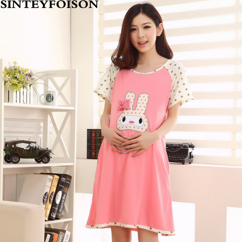 dd6a958d86 Summer Thin Cotton Breastfeeding Pajamas Expectant Mother Feeding Dress  Pregnant Women Pajamas with Short Sleeves