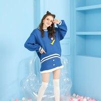 Принцесса сладкий костюм Лолиты милые зимние свободные и повседневные брюки фонарики рукава свитер Однотонная юбка костюм с аппликацией ж