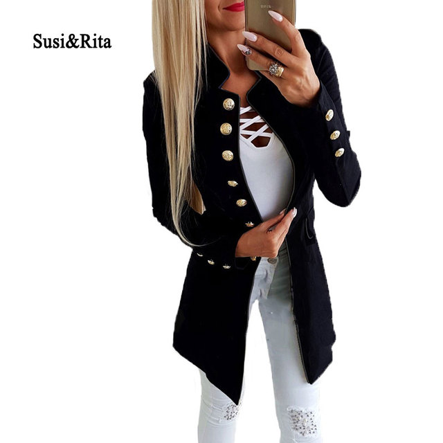Susi&Rita Vintage Long Blazer Women 2018 Gold Button Blazer Jackets Autumn Long Sleeve Coat Female Winter Ladies Blazer Feminino