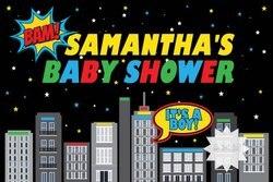 Niestandardowe Super Hero panoramę miasta gwiazda Cartoon Baby Shower tło wydruku komputerowego urodziny tło do zdjęć