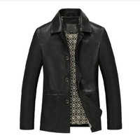Men Genuine Leather Jacket Black Brown 2019 New Spring And Autumn Button Pockets Male Sheepskin Leather Coat Father Outwear P02
