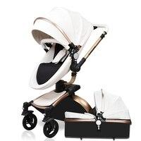 Hk бренд baby car кожа babyfond детская коляска 360 Вращающаяся коляска 0 ~ 36 месяцев Золотая рамка детская коляска 2 в 1 детская коляска