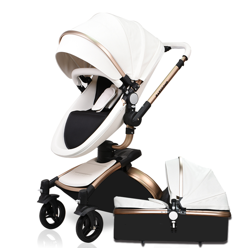 Hk Brand baby car leather babyfond Baby Stroller 360 rotate pram 0~36 months golden frame baby carriage 2 in 1 baby stroller babyfond high quality leather baby car baby stroller 3 in 1 baby carriage 2 in 1 baby stroller aluminum alloy frame