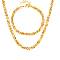 5mm Width Jewelry Set Yellow Gold Filled Mens Necklace Bracelet Chain