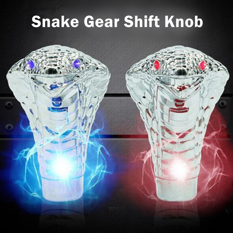 Universal Manual Gear Stick Shift Shifter Snake Cobra Car Styling Blue Red LED Light Eyes font
