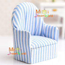 Dollhouse Miniature Furniture Livingroom Toy Single Soft blue White strip Sofa For Dolls Bedroom()