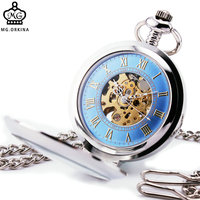 Hot Sale Unique Men Women Mechanical Pocket Watch Silver Stainless Steel Case Glass Lid Stylish Blue
