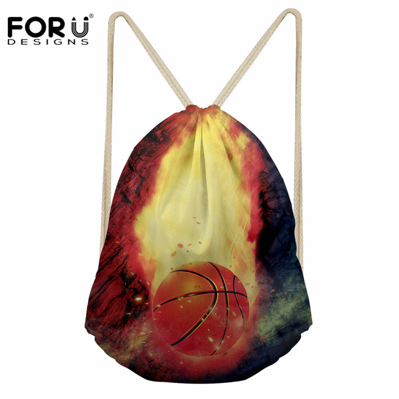 FORUDESIGNS 3D Fire Basketball Print Drawstring Bags Male Travel String Shoulder Backpacks Men Fashion Designer Small Schoolbags