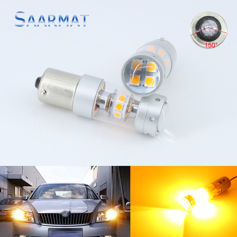 2pcs Amber Yellow 140W LED BAU15S 7507 PY21W 1156PY LED Bulbs For Front Turn Signal Light For AUDI A4 Q3 Q5 SQ5 A6 S6 A3 Quattro 2pcs amber yellow bau15s 7507 py21w 1156py led bulbs 15 smd 2835 led for front rear turn signal lights for most janpanese cars