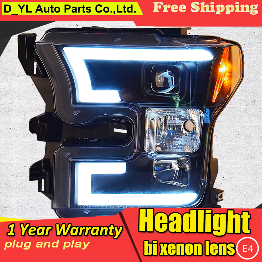 Car Styling Headlights For Ford F150 2015 2016 LED Head Lamp for F150 LED Headlight Daytime
