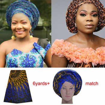 AS034 Ankara Auto Gele match Ankara Fabric 6yards / Woven Auto Gele Pre-Tied Ankara Gele / Ready To Wear Auto Freeze - DISCOUNT ITEM  50% OFF All Category