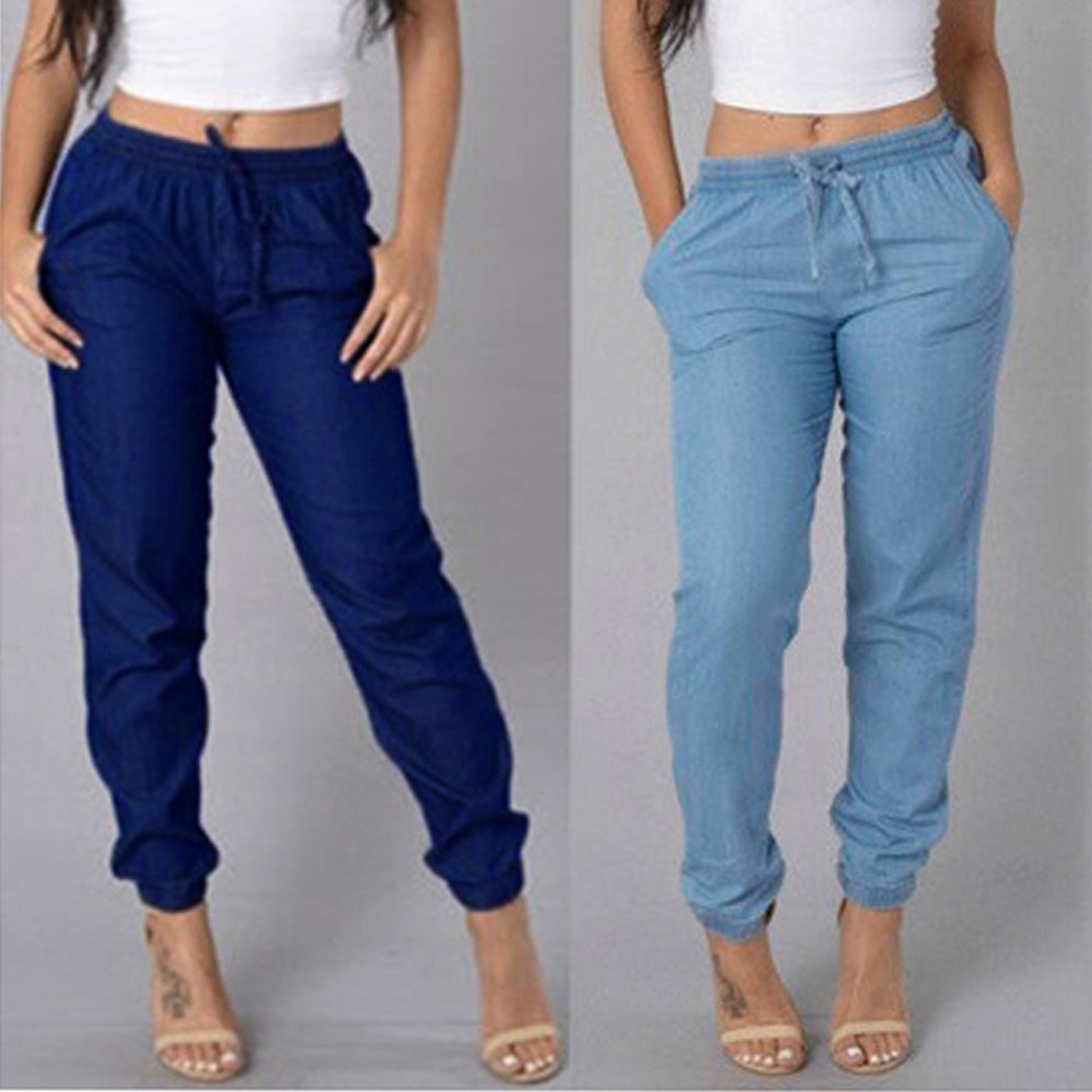 Womens Elastic Waist Casual Pants High Waist Jeans Casual Blue Denim Pants Women's Elastic Slacks High Waist Jeans