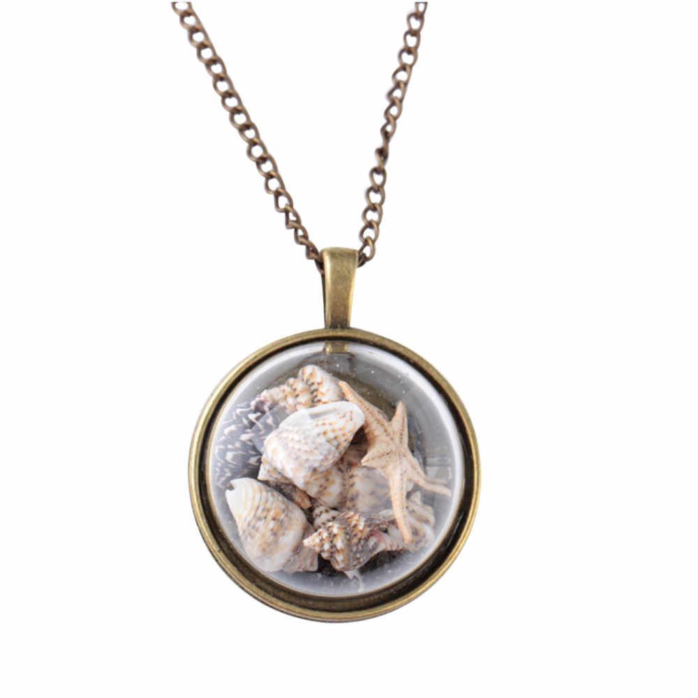 スタイリッシュなビーチ巻貝ネックレスジュエリー海の星のネックレス海の要素ガラスカバーペンダントチョーカーアクセサリーネックレス Aneis