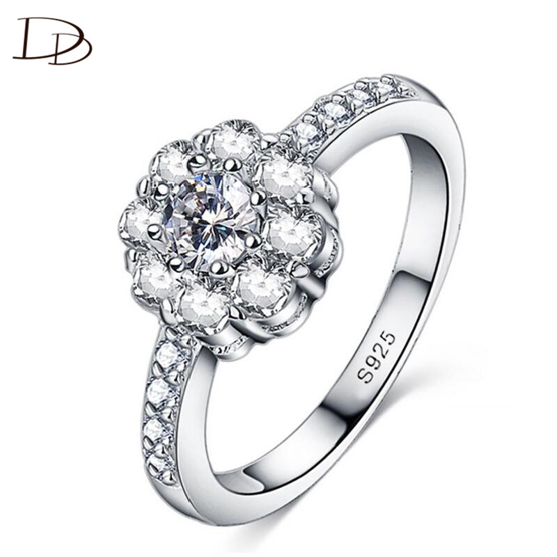wedding engagement ring for women Flower Shape white 585 gold color AAA rhinestone jewelry vintage crystal anillos bijoux DD047