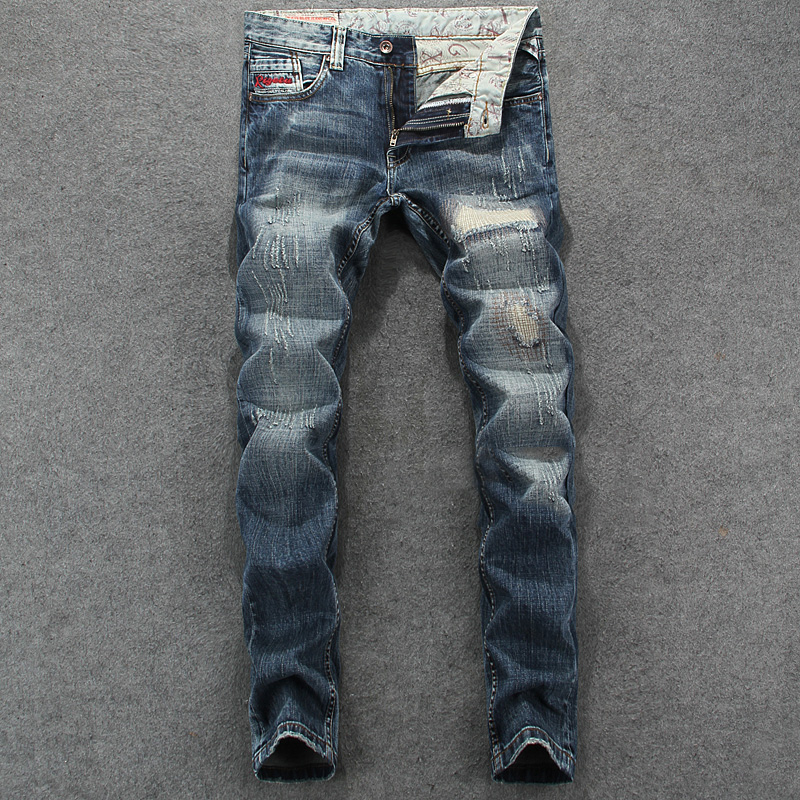 Men`s Patchwork Jeans Slim Fit Denim Pants Uomo Mid Stripe High Quality Designer Brand Clothing Hip Hop Jeans Men RL623 classic mid stripe men s buttons jeans ripped slim fit denim pants male high quality vintage brand clothing moto jeans men rl617