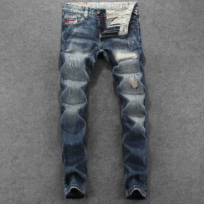 Men`s Patchwork Jeans Slim Fit Denim Pants Uomo Mid Stripe High Quality Designer Brand Clothing Hip Hop Jeans Men RL623 mid stripe punk men s blue jeans ripped slim fit denim pants male high quality vintage brand clothing moto jeans men rl608