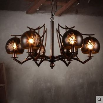 Endüstriyel tarzı restoran ferforje avize retro yaratıcı oturma odası yatak odası tavan lambası