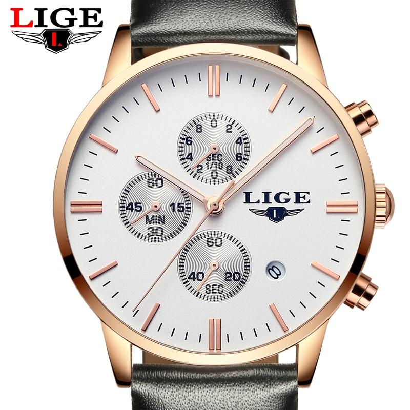 LIGE Luxury Brand Men's Fashion Business Watches Men 3ATM Waterproof Sport Leather Quartz Watch Man Clock relogios masculion+box