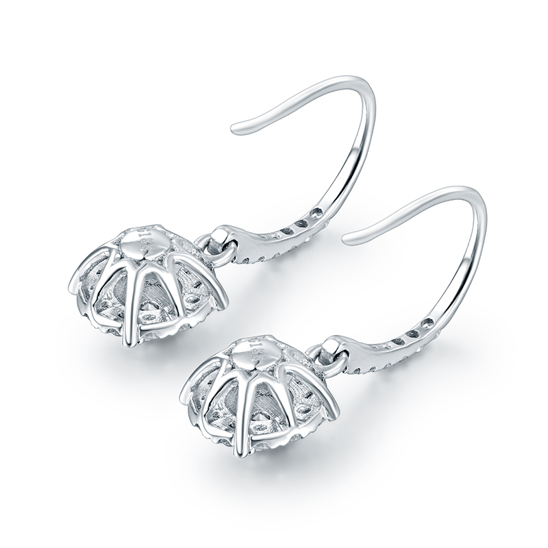 Royal Diamond Drop Earring Real Solid 18K White Gold Shinning Fine Jewelry for Mom Chirstmas Loving Best Gift