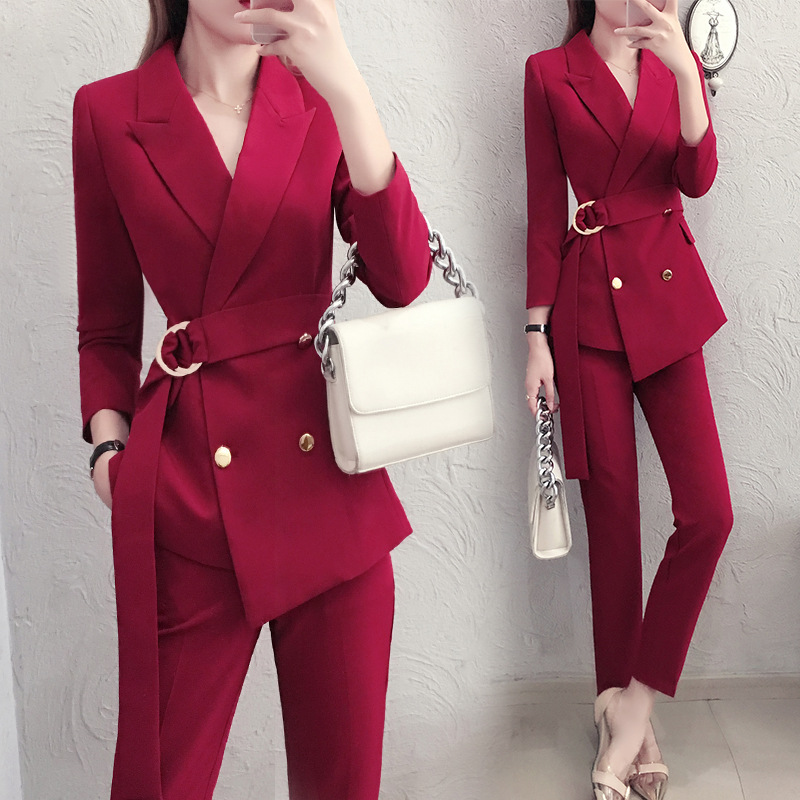 47220cda3fb Work red Irregular Blazer Suit Women Suits Double-breasted Slim Pant Suits  Office Lady Blazer