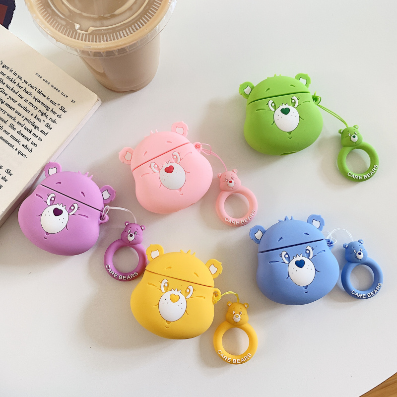 Cartoon cute rainbow bear 3D Headphone protective shell for airpods 2 case for Apple Bluetooth headset cover Protect the box-in Earphone Accessories from Consumer Electronics