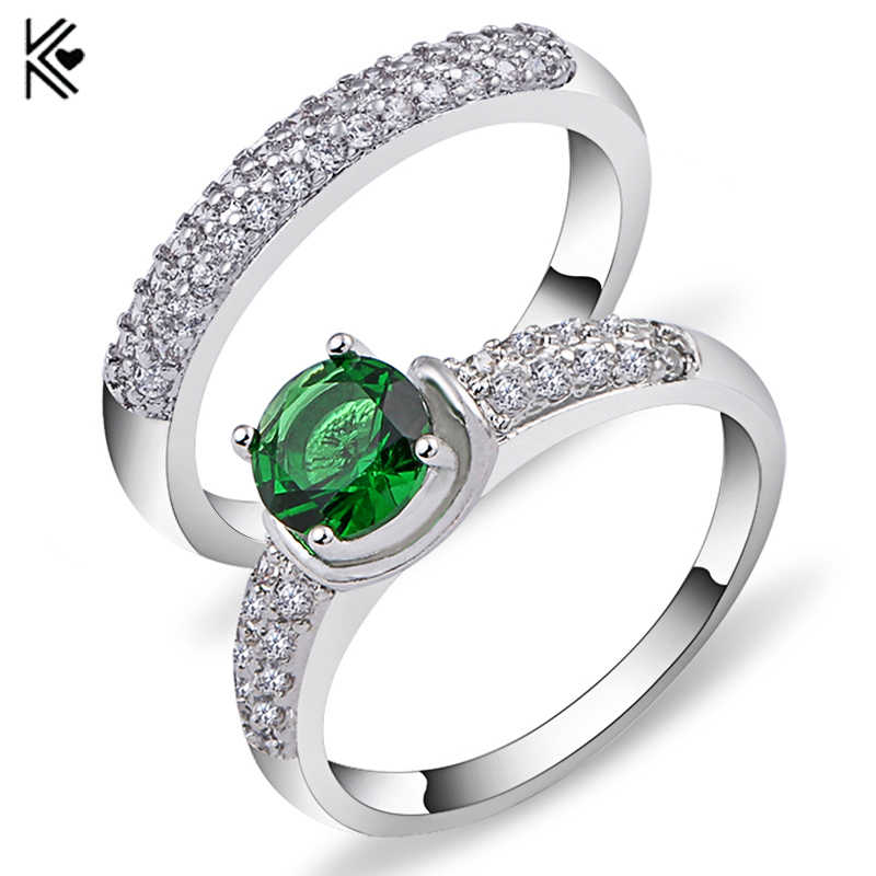 Fashion Olive Green Crystal Zircon Ring Set for Women Men Engagement Double Rings White Gold Filled CZ Birthstone Jewelry Anel