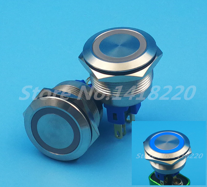 Free shipping 20Pcs 22MM Metal Switch illuminated Ring with Blue LED 12V Indication Momentary Push Button Waterproof 50pcs lot 6x6x7mm 4pin g92 tactile tact push button micro switch direct self reset dip top copper free shipping russia