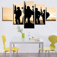 5 Panel United States Army Rangers Sunset Scenery Modern Home Wall Decor Canvas Picture Art HD