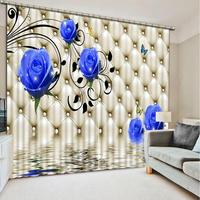 European style customize 3D curtains high quality Flower window curtains