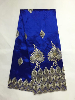 Blue Beaded Nigerian George Lace Fabric With Sequins Guipure Laces Tissu African George Silk Lace For Indian Wedding Fabrics B8G