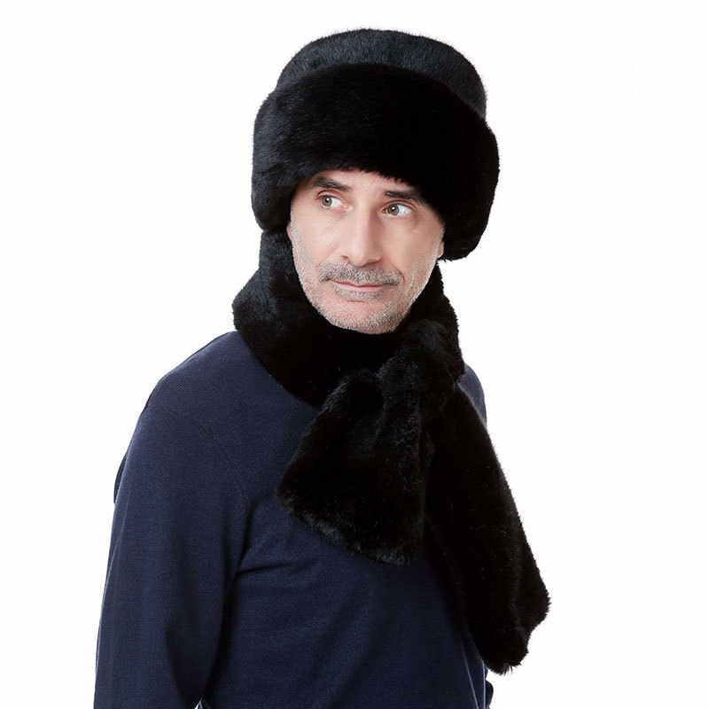 c61d131dc Mens Winter Hats Dad Russian Ushanka Hats Winter Protector Ear Cap Bomber  Aviator Black Fur Russian Army Fashion Mink Caps
