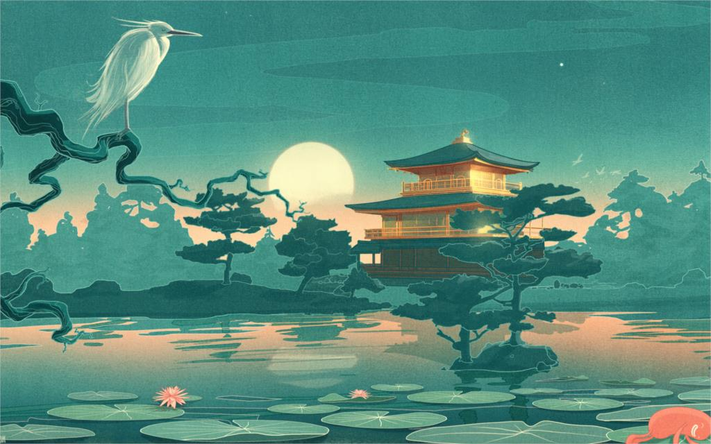 <font><b>asian</b></font> oriental cultural pond garden art animals birds flowers moon reflection fantasy castle <font><b>Home</b></font> <font><b>Decoration</b></font> Canvas Poster Print
