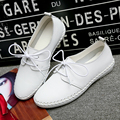 2017 Women's Simple Black White Leather Shoes Korean Fashion Light Slip On Flat Casual Shoes Lace Up Doug Loafer Chaussure Femme