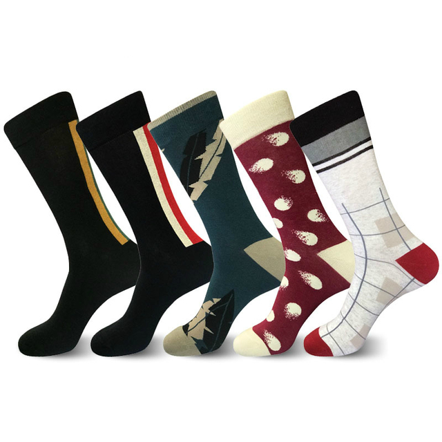 PEONFLY Fashion New Striped Plaid Polka Dot Leaves Pattern Novelty Art Man Socks Casual Harajuku Ventilation Cotton Socks Autumn