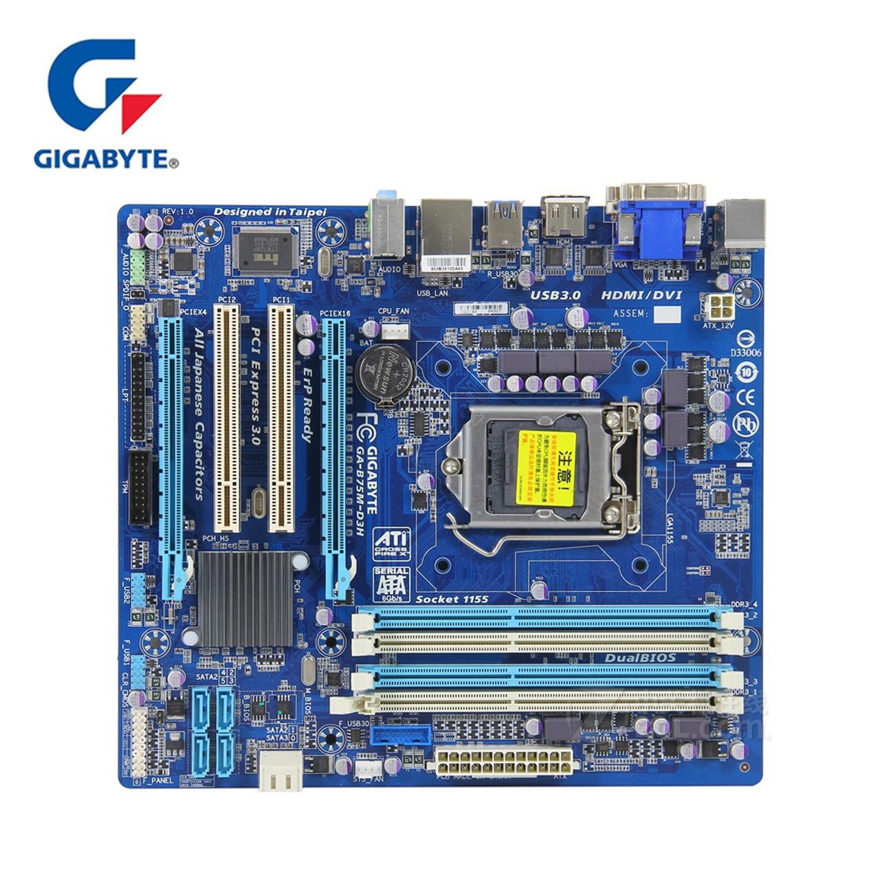 Original Gigabyte GA B75M D3H Motherboard LGA 1155 DDR3 RAM 32G B75 B75M D3H Desktop Mainboard B75M D3H DVI VGA HDMI USB3 Used