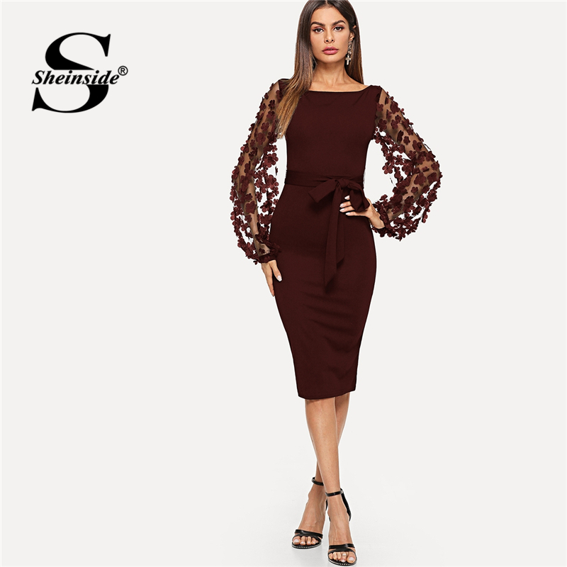 Sheinside Elegant Embroidery Flower Applique Mesh Sleeve with Belted Form Fitting Dress 2018 Autumn Lady Midi Party Dresses