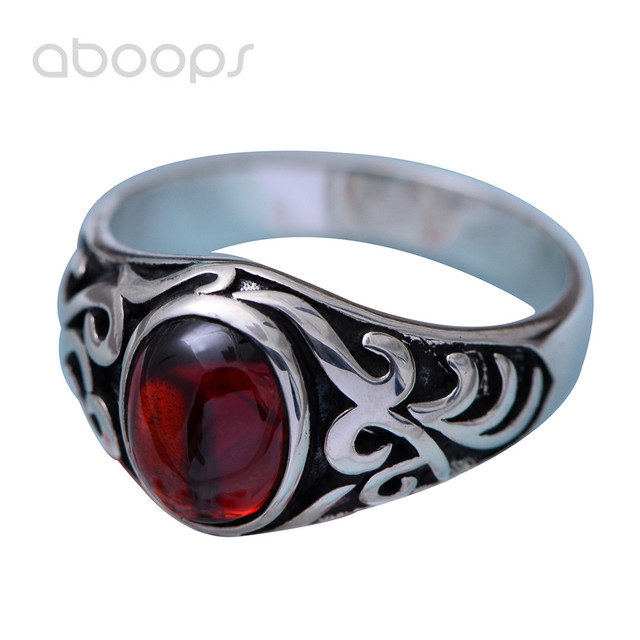 Gothic Punk Black 925 Sterling Silver Solitaire Vampire Ring Jewelry Inlaid Red Stone for Men Size 11 11.5 Free Shipping