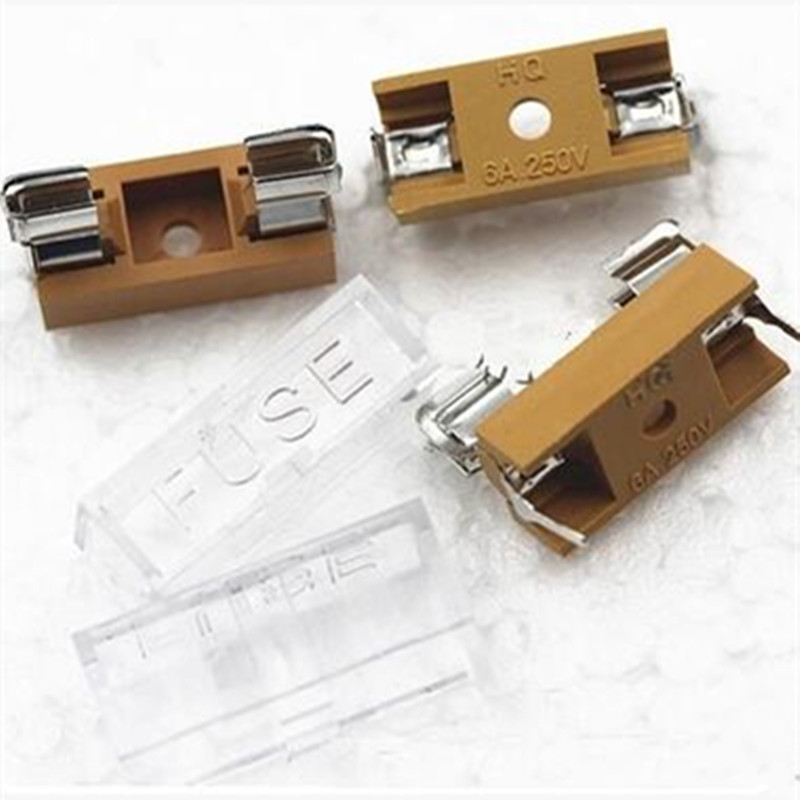 10pcs/lot 5*20mm glass fuse holder transparent holder with transparent cover fuse blocks 5X20mm insurance header