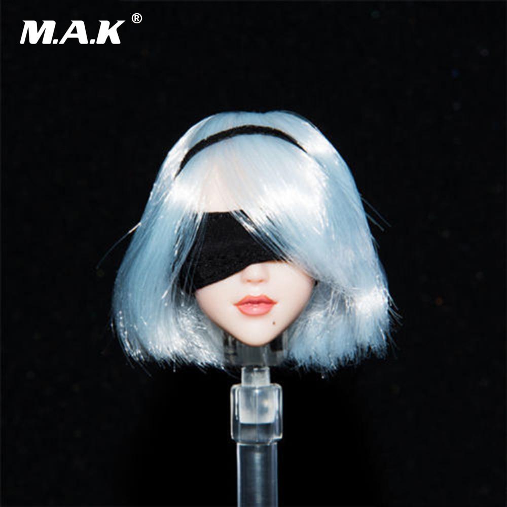 1/6 Scale Female Head Carving NieR Head: Automata 2B Girl Long White Hair Head Sculpt for 12 inches Bodies 1 6 blond long hair dana scully head sculpt for 12 bodies figures