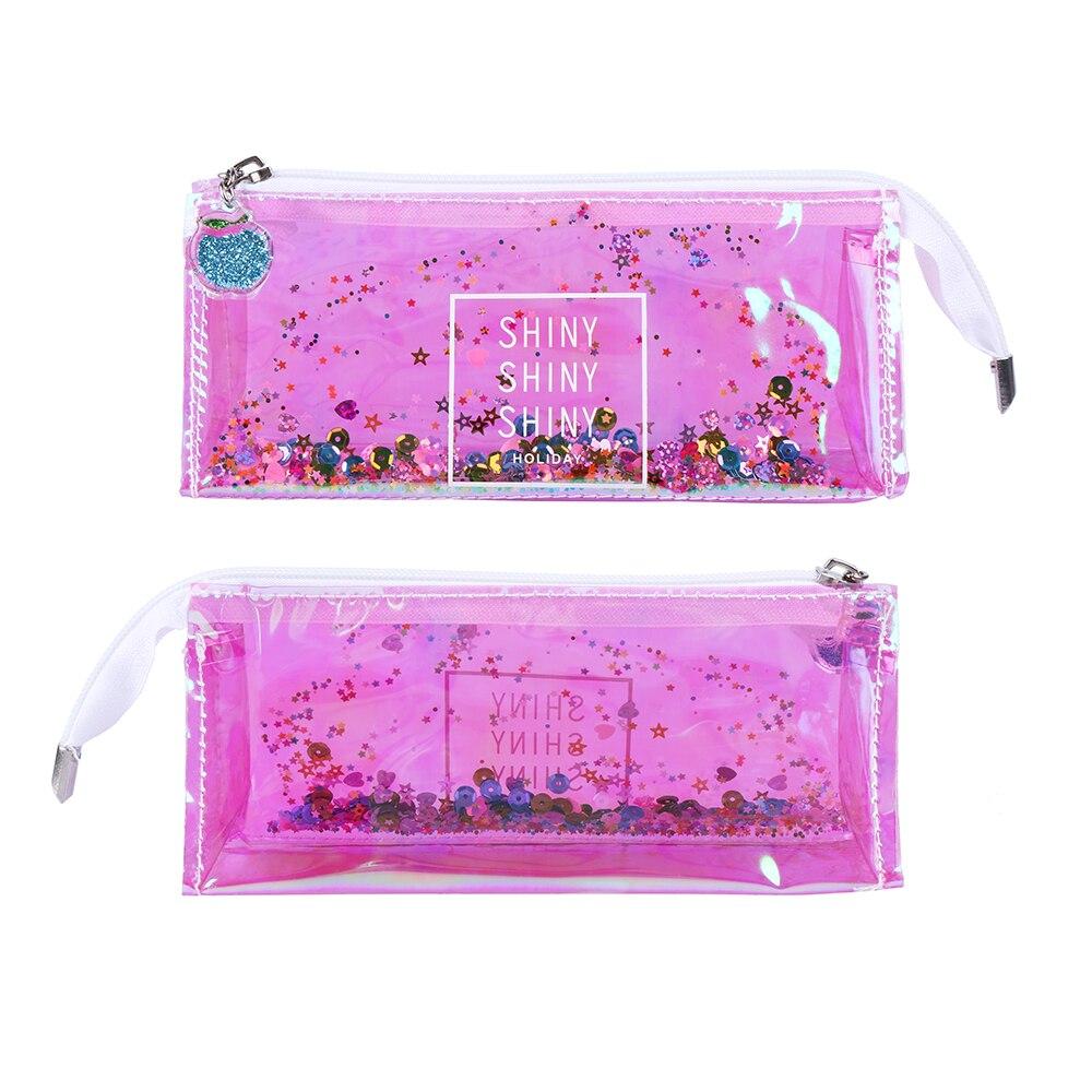 Women Fashion Lazy Makeup Bag Organizer Laser Star Sequins Quicksand Transparent Bag Lip Cosmetic Bag Gesture Glitter Handbag