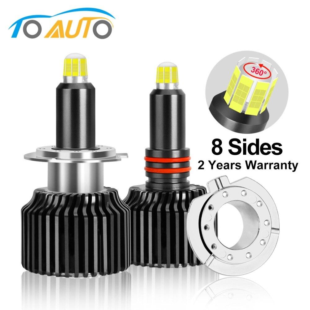 2pcs H1 H7 H8 H11 LED HB3 9005 HB4 9006 3D LED Canbus Car Headlight Bulbs 8 Sides 360 Degree 6000K 15000LM Auto Headlamp 12V