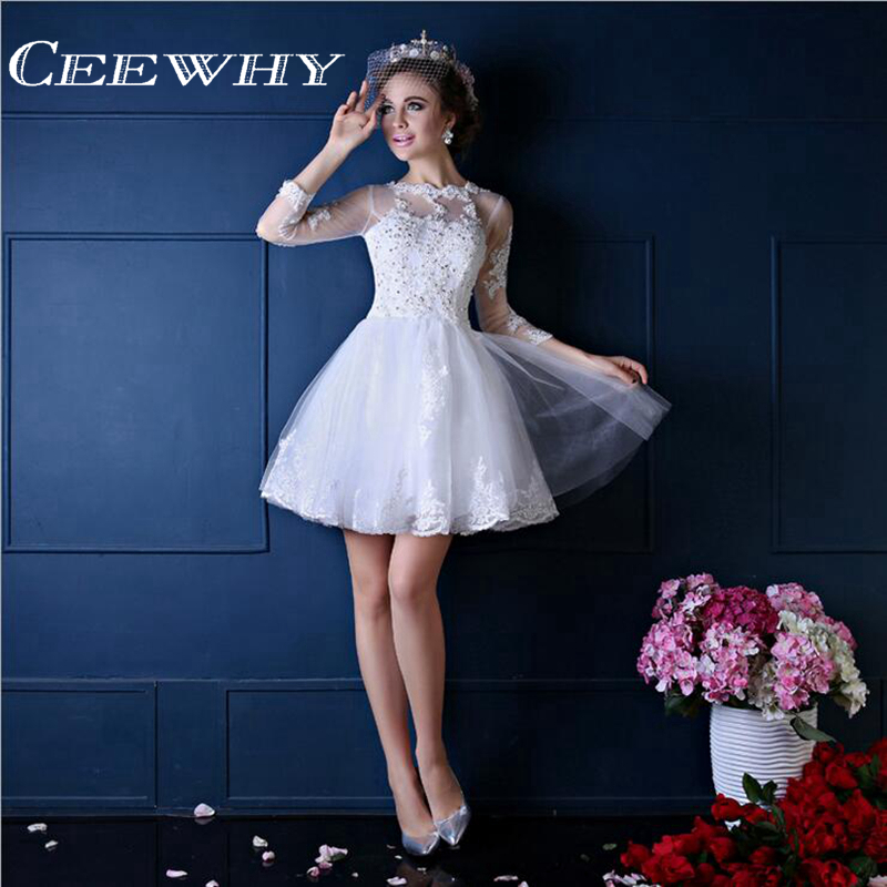 CEEWHY Vestidos de Fiesta Embroidery Three Quarter Sleeve Robe De   Cocktail     Dresses   Embroidery Tulle Mini Formal   Dress   White