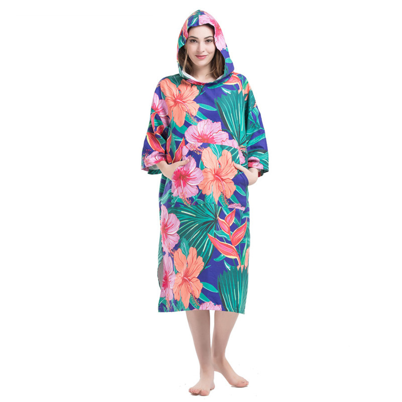 Flowers Printing Changing Robe Bath Towel Fashion Outdoor Adult Hooded Beach Towel Poncho Movemen Women Man