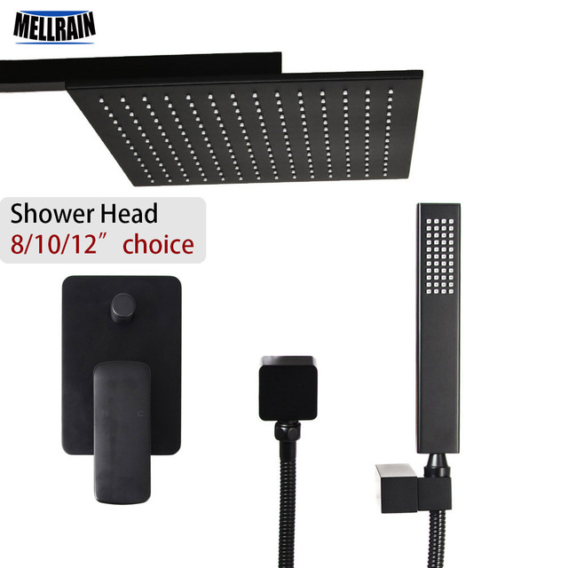 Brass quality black color bath shower set wall mounted 8 10 12 inch rain shower head choice water mixer onekey water separator