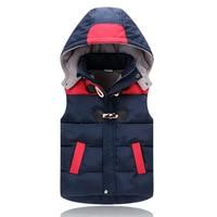 Winter Boys Vest Kid Waistcoats Boy Contrast Color Down Coat For Kids Horn Button Boy Outwear