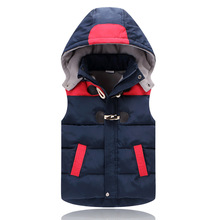 Winter Boys Vest Kid Waistcoats Boy Contrast Color Down Coat For Kids Horn Button Boy Outwear Autumn Baby Vest Warm Hooded Coat недорого