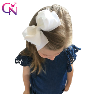 "Image 1 - 20 pçs/lote 5 ""meninas boutique acessórios de cabelo moda sólida artesanal fita arco do cabelo com grampo para crianças acessórios de cabelo"